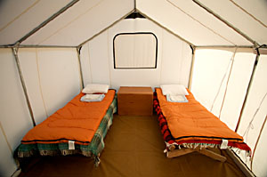 Safari tent at Scammon's lagoon Baja Whale watching Mexico