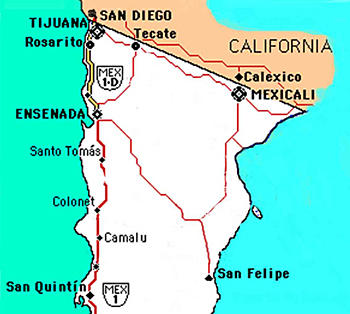Northern  Baja Map for the Baja whale watching adventure